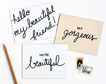 Beautiful Friend Letterpress Note Card Set of Six