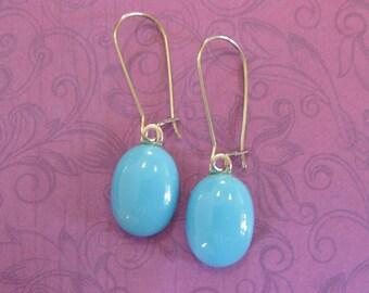 Blue Earrings, Kidney Wire Earrings, Turquoise Blue Drop, Trendy Fused Glass Jewelry - Vivien - 302 -4