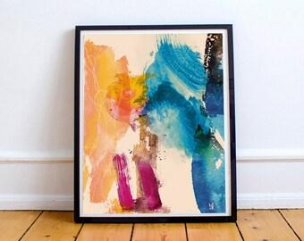 Watercolor Abstract painting, modern wall art, original art, instant Digital Download, orange, black, light blue, artwork, brush strokes