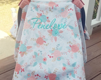 Mint and Coral Carseat Canopy- Carseat Cover, Baby Girl, Baby Shower Gift, Baby Accessories, Baby Carrier, Modern Baby, Carseat Tent