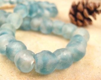 Blue Recycled Glass Beads: World's Most Eco-Friendly Beads! Ghana Beads - African Beads - Wholesale Glass Beads - Made of Bottles 563