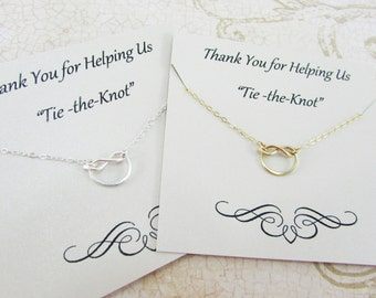 14K Gold Knot Necklace, Bridesmaid Thank You Gift, Sterling Silver Knot, Rose Gold Knot, Simple Knot Necklace, Bridesmaid Gift Ideas
