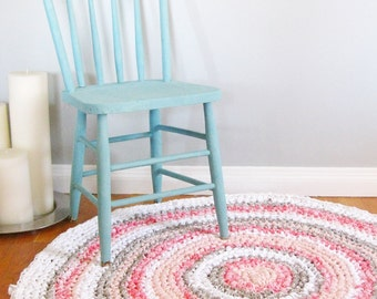 Round Rag Rug | Custom Rug | Girl Nursery Decor | Girl Nursery Rug | Crochet Rag Rug