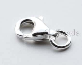 One Piece S925 Sterling Silver Lobster Claw - Lobster Clasp  - 13mm