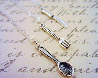 3 best friend necklaces. Food gift. Food jewelry. Foodie gift. Fork jewelry. Spoon necklace. Knife necklace. Best friend gift. Bff gift.