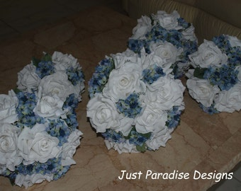 Wedding Bouquet Set -  White Open Roses with Mini Light Blue Hydrangea