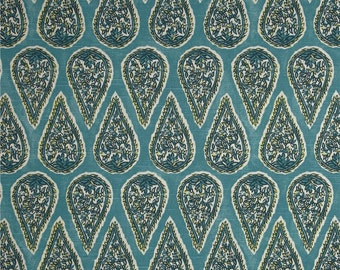 Two 16 x 26  Custom Designer Decorative Lumbar Pillow Covers  - Lacefield Paisley Oval - Teal Blue Yellow