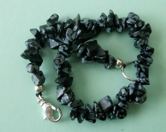 Gemstone Jewelry Bracelet - Snowflake Obsidian Gemstone Chip Beaded Bracelet