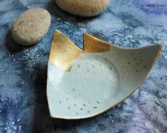 Coupelle porte-bijoux Montagne vert d'eau et doré