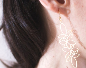 Long earrings leaves gold, intricately laser, plating gold high quality