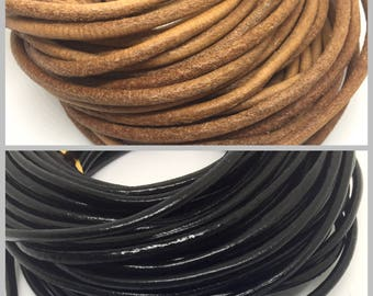 1 m leather cord, 3 mm, brown or black