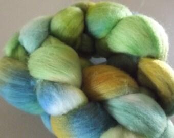 Handdyed Roving Wool Spinning Felting 2.6oz Merino Handspinning Felting Fiber Aspenmoonarts WM1 Green Blue