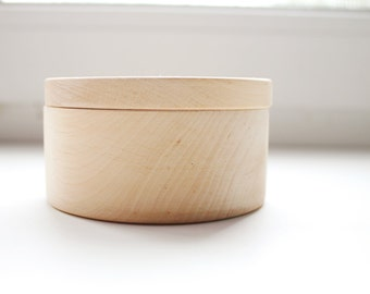 90 mm - Round unfinished wooden box - with cover - natural, eco friendly - 90 mm diameter - B101-90