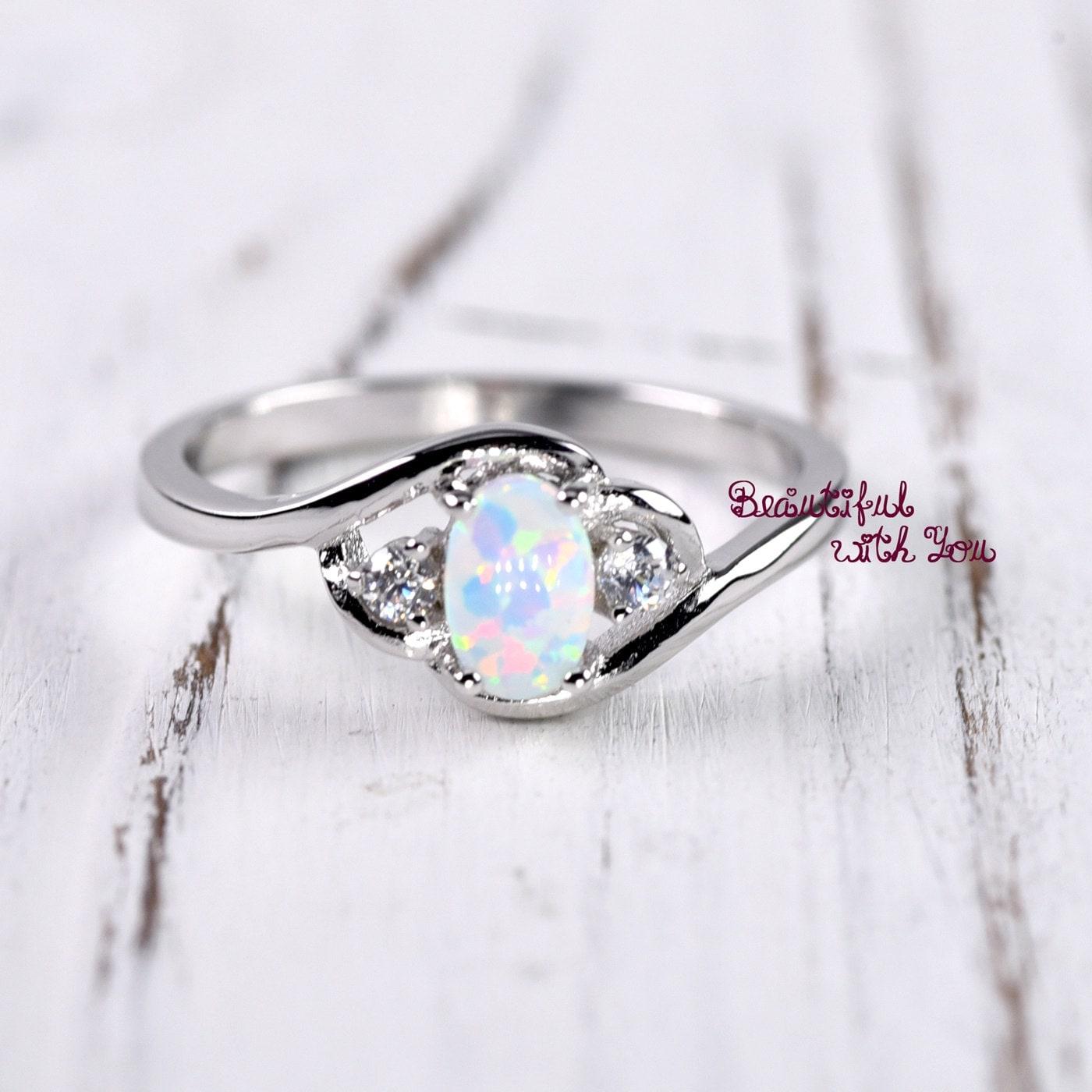 Unique White Opal Ring Silver Opal Ring Womens Dainty Opal Wedding PU92