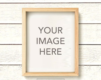 Vertical Light Wood, Natural Wood Frame Photo Mockup on Clapboard White Wood Plank Shiplap Wall Background, Photo Mock-up, INSTANT DOWNLOAD