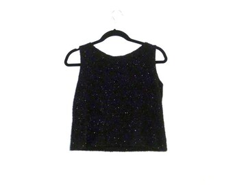 90s Textured Fuzzy Black Metallic Crop Top (Medium-Large)