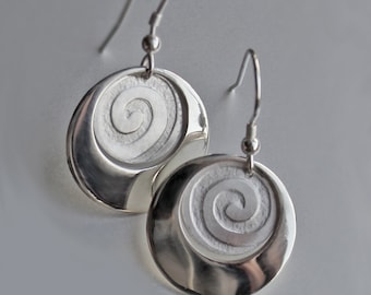 Spiral Earrings, Silver Earrings, Handmade Earrings, Sterling Silver Earrings, Jewellery, Jewelry