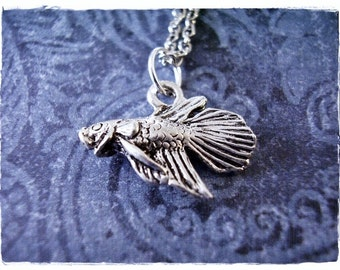 Silver Betta Fish Necklace - Silver Pewter Betta Fish Charm on a Delicate Silver Plated Cable Chain or Charm Only
