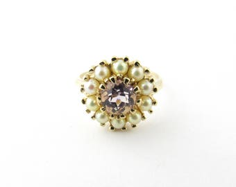 Vintage 14 Karat Yellow Gold Amethyst and Pearl Ring Size 8.5 #2705