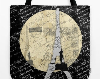 Eiffel Tower Moon Tote several sizes
