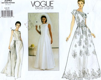 Vogue Bridal Original 2240 Misses Bridal Gown and Evening Dress Sewing Pattern Size 6-8-10