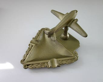 Vintage 1940's Cast Iron DC3 Airplane Ashtray - Military Man Gift - Military Aircraft - Gift for Him - Cast Metal Ashtray - Man Cave Decor