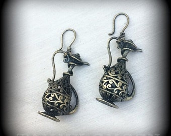 Genie Lamp ear weights Wanderlust 'I Dream of Jeannie' Antique Bronze Genie Lamp earrings for pierced ears ear weights for stretched lobes