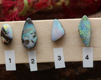 Parcel of Boulder Opal Gemstones-4xUnset Opals-Gem Opal-Red Opal-Green Opal-Pink Opal-Unset Opal for Jewellery Making-Hand cut-Free shape