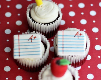 Fondant Teacher Gift Pencil, Apple and Paper Toppers for Cupcakes, Cookies or other Treats