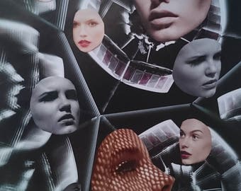 Photo collage, Faces, fashion collage, wall art, collage art, fashion wall art, surrealism, cosmic, print