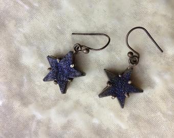 Purple Drusy Stone Star Earrings