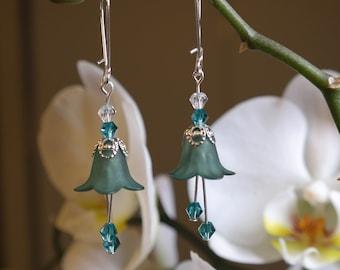 Teal Fairy Flower Earrings