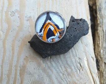 Ring ethnic orange, black and white African wax fabric