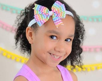 Rainbow Chevron Hair Bow, Rainbow Headband, School Hair Bow, School Headband, Rainbow Hair Bow, Pastel Hair Bow, Baby Girl Headband, Bow