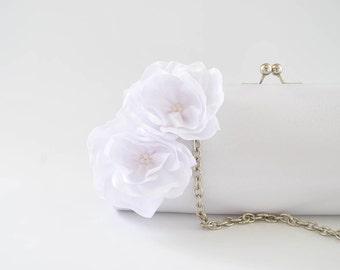 BRIGHT WHITE - Wedding clutch - Custom clutch - Bridal_Bridesmaid_Prom - Large clutch