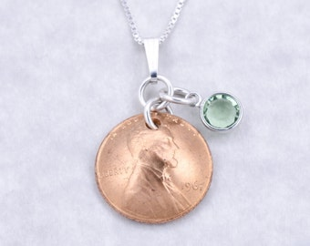 50th Birthday Gift - 50th Anniversary Gift - 1968 Penny Coin Birthstone Pendant Necklace Jewelry - Birthday Gift for Mother - Sister
