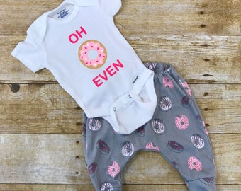 Oh Donut Even baby outfit, donut leggings and onesie, donut joggers outfit