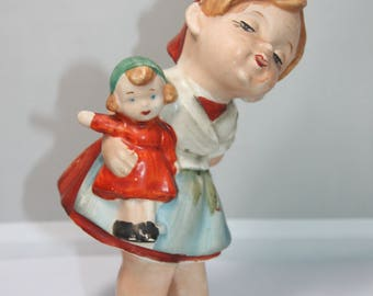 Vintage Lipper and Mann Creations Little Girl w/ Doll Figurine Knick Knack Made in Japan