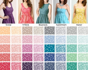 Mix and Match Dress styles Custom made – Candy Shop Colors – Vintage inspired with Pockets - Cotton
