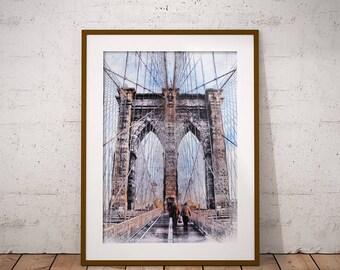 Brooklyn Bridge Printable Wall Art, New York Print, Brooklyn Bridge Drawing, Art Print, Travel Print, Home Decor Wall Decor Digital Download