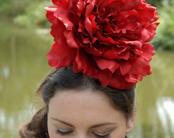 Fascinator hat headpiece - Sinamay smartie base with large silk flower and ribbon bow