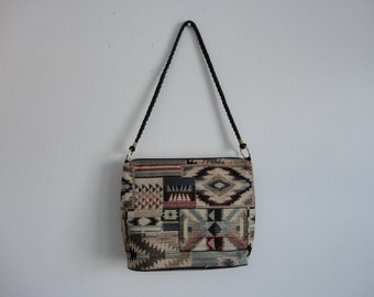 VINTAGE southwestern style SHOULDER BAG - boho hippie bag - ikat style print - oversized purse - school work bag