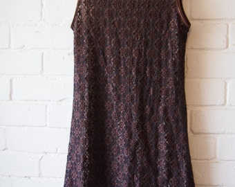 Vintage Sportsgirl Brown Lace Dress 90s with tag on Size S