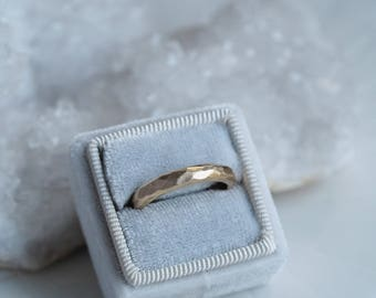Faceted Solid 9ct Gold Ring Band