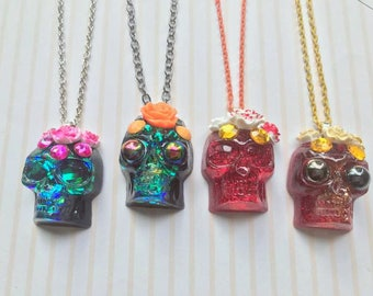 Calavera Sugar Skull Resin Necklace