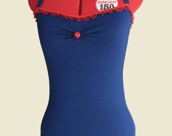 Blue/Red jersey Top