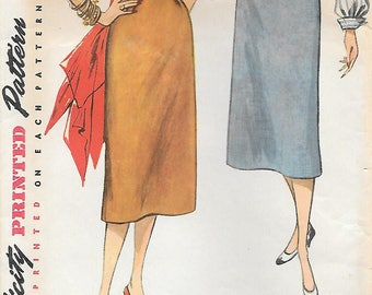 Waist 28-Simplicity 4254 1950s Simple to Make Pencil Skirt Vintage Sewing Pattern