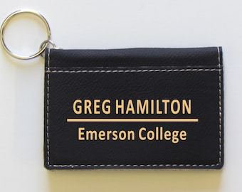 Personalized Keychain ID Holder - Black - College ID Holder - Keychain ID Holder - Keychain Holder - Keychain - Monogram - Personalized