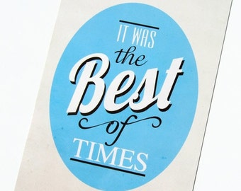 Thank You Postcard, It was the Best of Times, Book Lover Ivory Blue Antique, Typography Card, Quote Card,