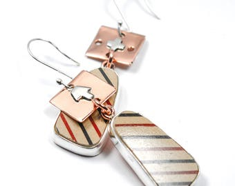 Mata Ortiz Copper & Silver Lines Earrings